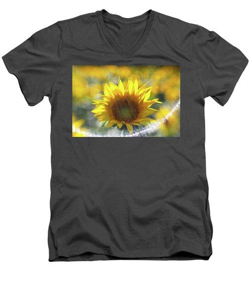 Sunflower With Lens Flare Men's V-Neck T-Shirt