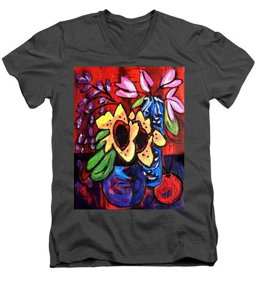 Sunflowers And Tulips Men's V-Neck T-Shirt