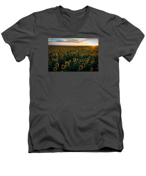 Sunflowers At Sunset Men's V-Neck T-Shirt