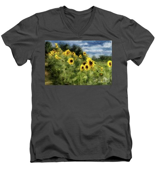 Sunflowers Bowing And Waving Men's V-Neck T-Shirt