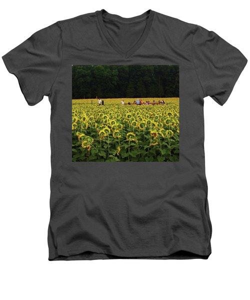 Sunflowers Everywhere Men's V-Neck T-Shirt by John Scates