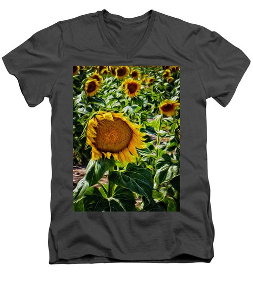 Sunflowers Glaze Men's V-Neck T-Shirt
