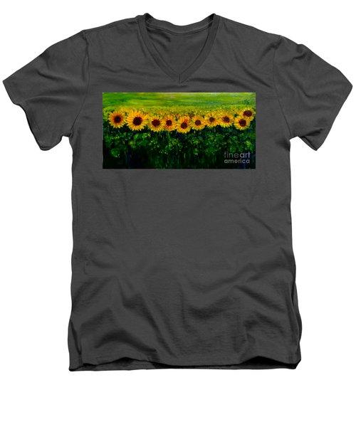 Sunflowers In A Row Men's V-Neck T-Shirt