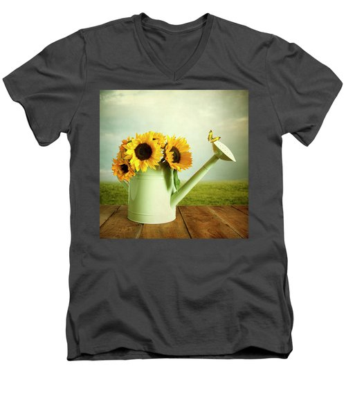 Sunflowers In A Watering Can Men's V-Neck T-Shirt