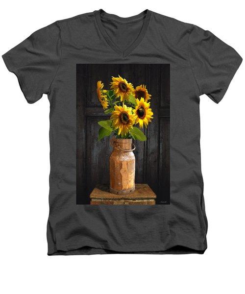 Sunflowers In Copper Milk Can Men's V-Neck T-Shirt