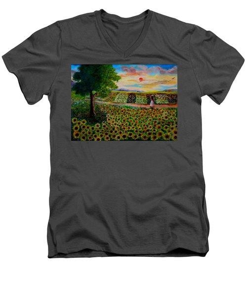 Sunflowers In Sunset Men's V-Neck T-Shirt