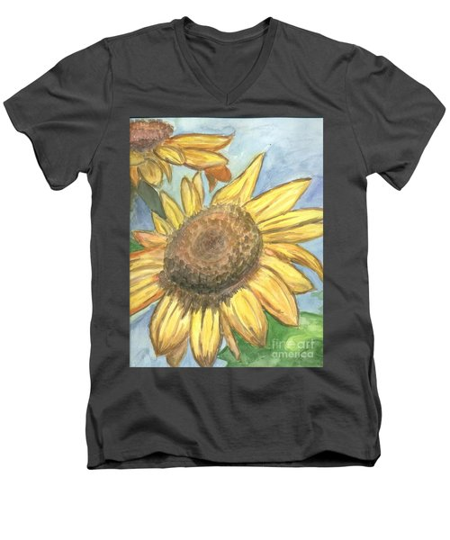 Men's V-Neck T-Shirt featuring the painting Sunflowers by Jacqueline Athmann