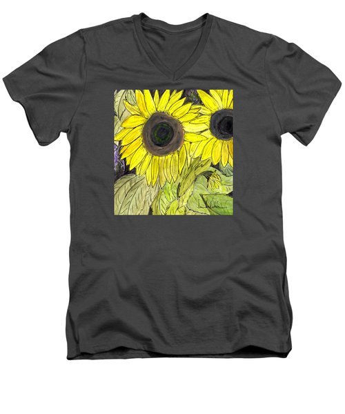 Sunflowers Men's V-Neck T-Shirt by Lou Belcher