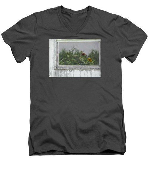 Sunflowers On Barn Men's V-Neck T-Shirt by Tina M Wenger