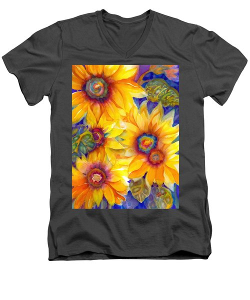 Sunflowers On Blue II Men's V-Neck T-Shirt