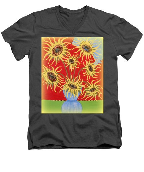 Sunflowers On Red Men's V-Neck T-Shirt by Marie Schwarzer