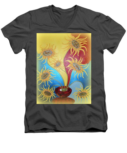 Sunflowers Symphony Men's V-Neck T-Shirt by Marie Schwarzer