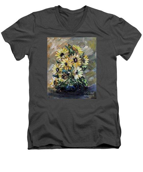 Sunflowers Men's V-Neck T-Shirt by Teresa Wegrzyn