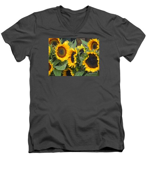 Men's V-Neck T-Shirt featuring the photograph Sunflowers Two by Chrisann Ellis