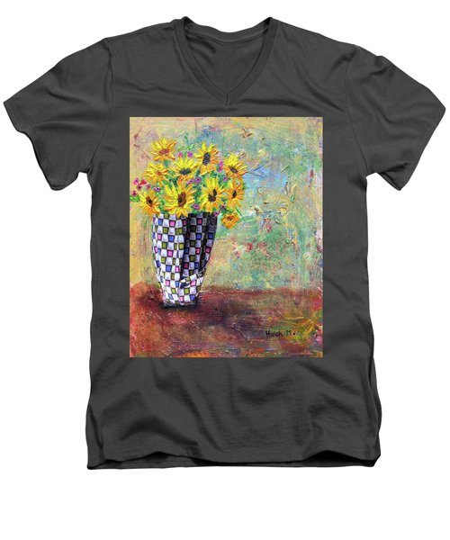 Sunflowers Warmth Men's V-Neck T-Shirt by Haleh Mahbod