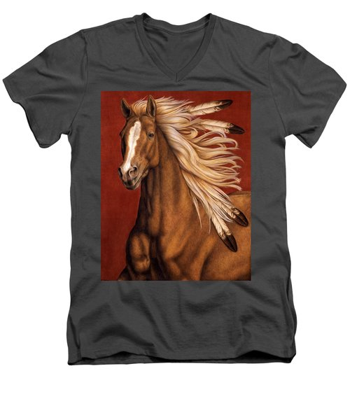 Men's V-Neck T-Shirt featuring the painting Sunhorse by Pat Erickson