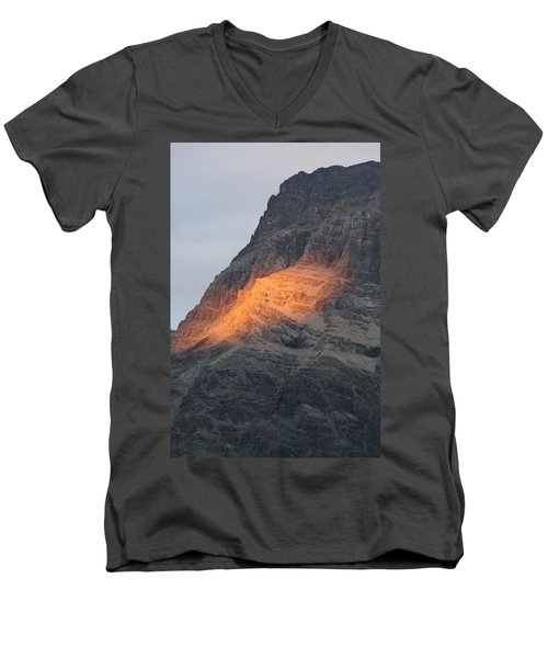 Men's V-Neck T-Shirt featuring the photograph Sunlight Mountain by Mary Mikawoz