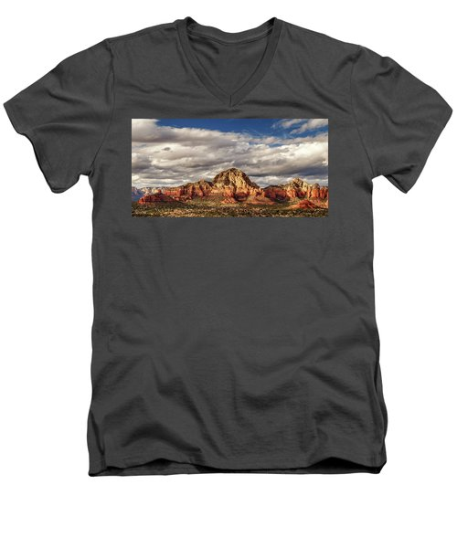 Men's V-Neck T-Shirt featuring the photograph Sunlight On Sedona by James Eddy