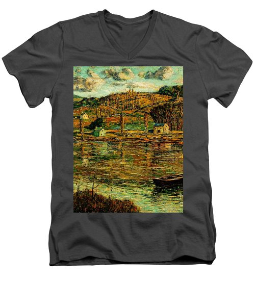 Sunlight On The Harlem River 1919 Men's V-Neck T-Shirt