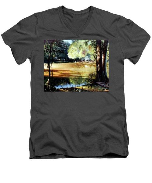 Sunlight On Village Creek Men's V-Neck T-Shirt