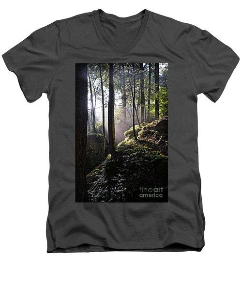 Sunlight Through Trees At Beartown State Park 3129c Men's V-Neck T-Shirt