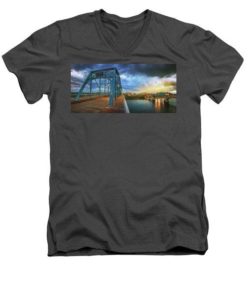 Sunlight Thru Rain Over Chattanooga Men's V-Neck T-Shirt by Steven Llorca