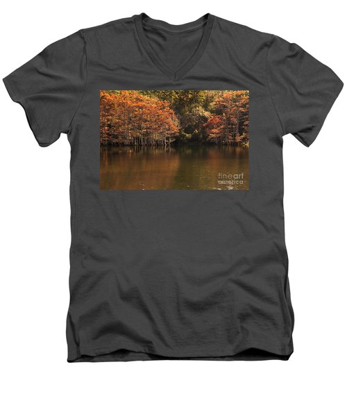 Men's V-Neck T-Shirt featuring the photograph Sunlit Cypress Trees On Beaver's Bend by Tamyra Ayles