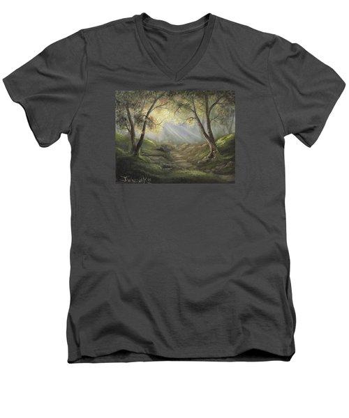 Sunlit Forrest  Men's V-Neck T-Shirt