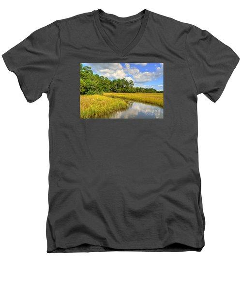 Sunlit Marsh Men's V-Neck T-Shirt by Kathy Baccari