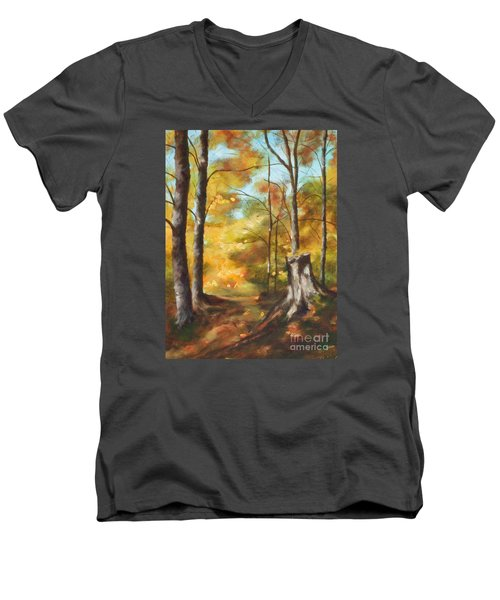 Sunlit Tree Trunk Men's V-Neck T-Shirt