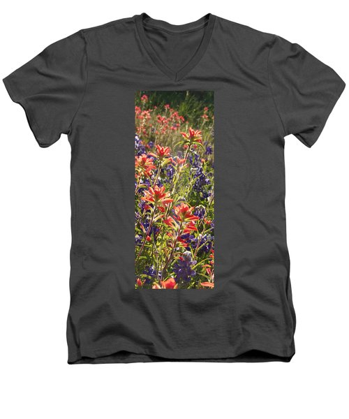 Men's V-Neck T-Shirt featuring the painting Sunlit Wild Flowers by Karen Kennedy Chatham