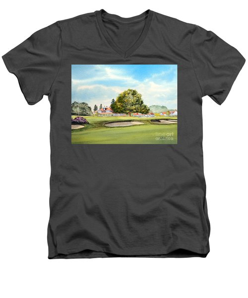Men's V-Neck T-Shirt featuring the painting Sunningdale Golf Course 18th Green by Bill Holkham