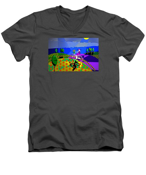 Men's V-Neck T-Shirt featuring the digital art Sunny Acres by Randall Henrie