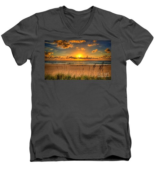 Sunny Beach To Warm Your Heart Men's V-Neck T-Shirt by Rod Jellison