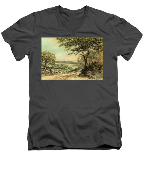 Men's V-Neck T-Shirt featuring the painting Sunny Bushveld by Heidi Kriel