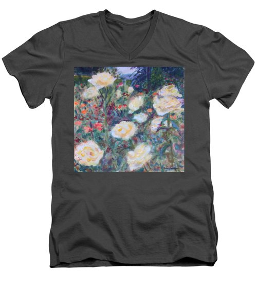 Sunny Day At The Rose Garden Men's V-Neck T-Shirt by Quin Sweetman