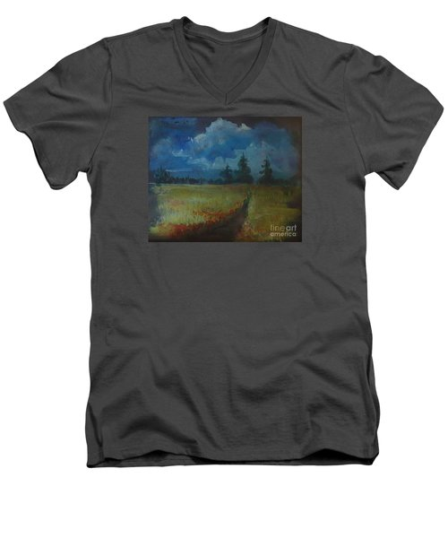 Men's V-Neck T-Shirt featuring the painting Sunny Field by Christina Verdgeline