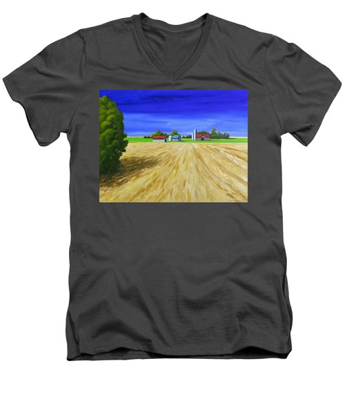 Men's V-Neck T-Shirt featuring the painting Sunny Fields by Jo Appleby