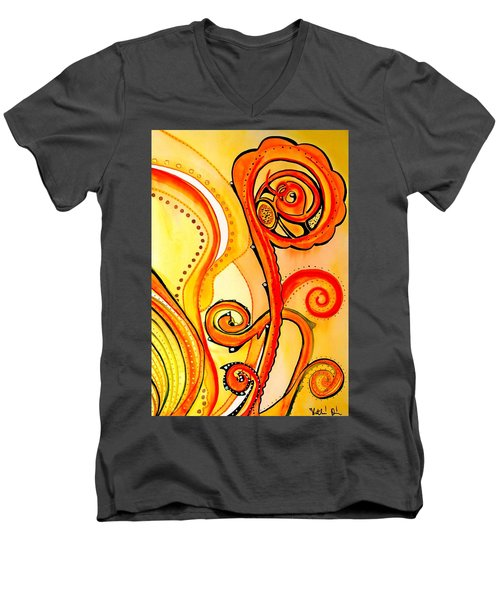 Men's V-Neck T-Shirt featuring the painting Sunny Flower - Art By Dora Hathazi Mendes by Dora Hathazi Mendes