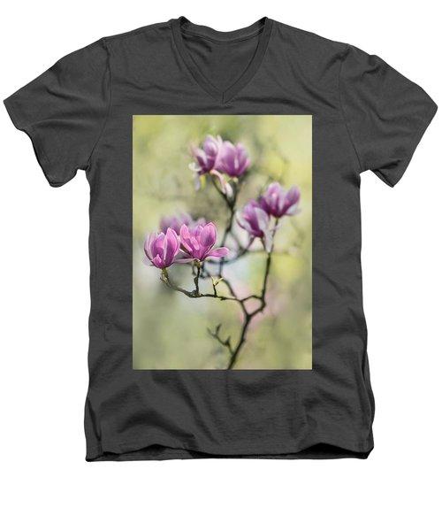 Sunny Impression With Pink Magnolias Men's V-Neck T-Shirt