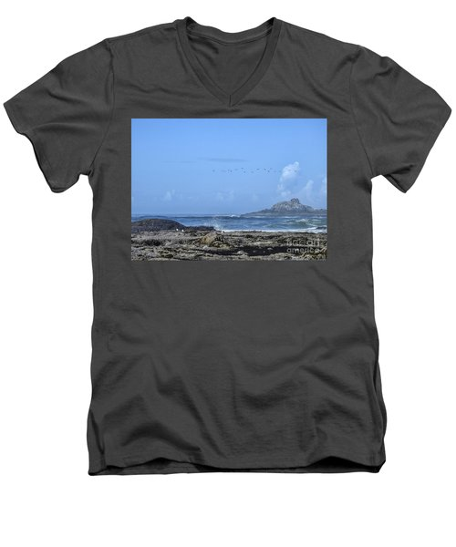 Men's V-Neck T-Shirt featuring the photograph Sunny Morning At Roads End by Peggy Hughes