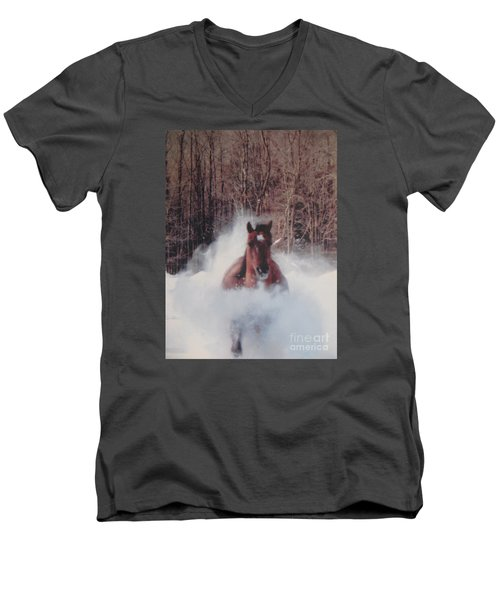 Men's V-Neck T-Shirt featuring the photograph Sunny Running For The Barn. by Jeffrey Koss