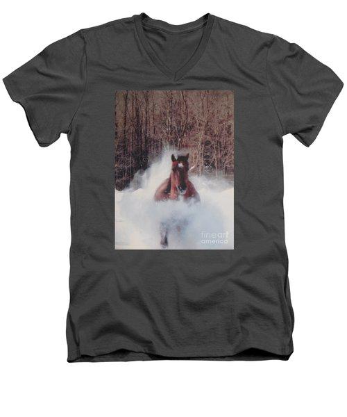 Sunny Running For The Barn. Men's V-Neck T-Shirt by Jeffrey Koss