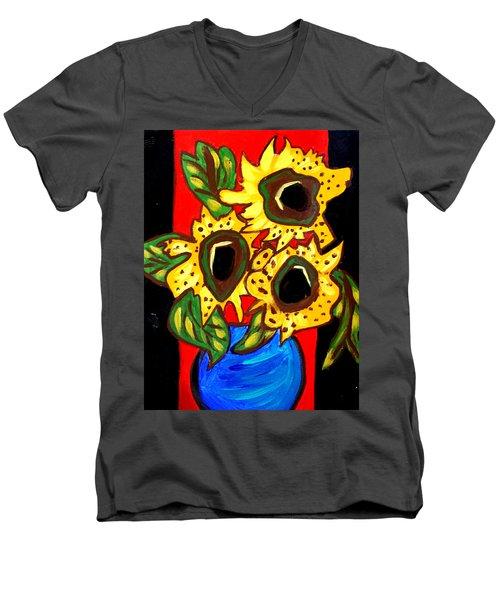 Sunny Sunflowers 1 Men's V-Neck T-Shirt