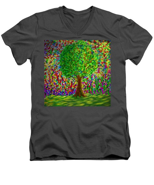 Sunny Tree Men's V-Neck T-Shirt by Kevin Caudill