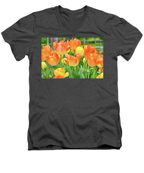 Men's V-Neck T-Shirt featuring the photograph Sunny Tulips by David Lawson