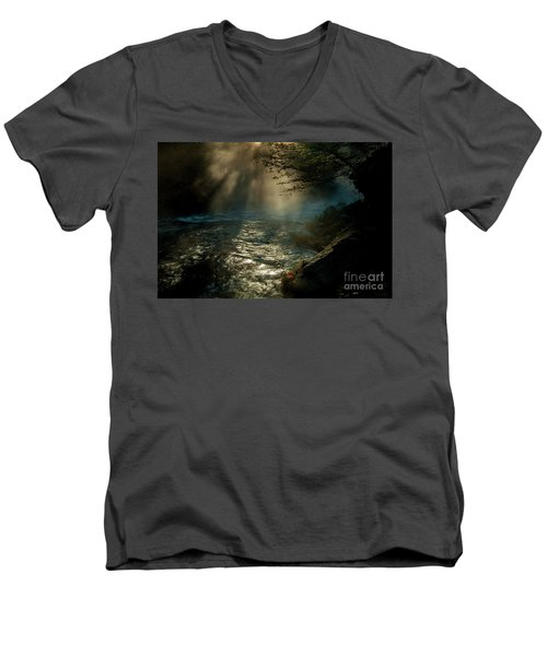 Sunrays At Fork River Men's V-Neck T-Shirt by Iris Greenwell