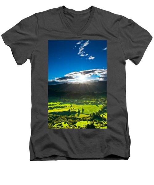 Sunrays Flood Farmland During Sunset Men's V-Neck T-Shirt by Ulrich Schade