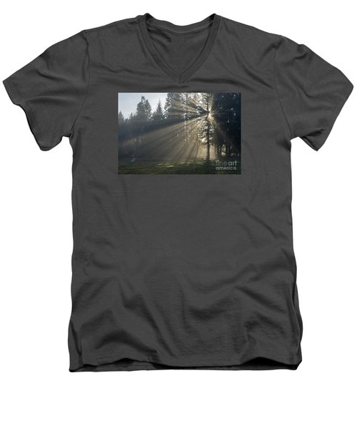 Men's V-Neck T-Shirt featuring the photograph Sunrays by Inge Riis McDonald