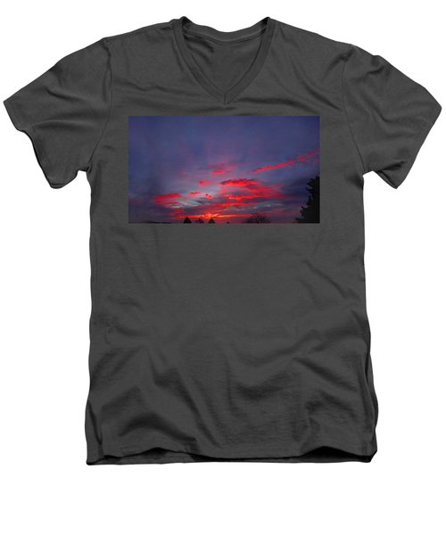 Sunrise Abstract, Red Oklahoma Morning Men's V-Neck T-Shirt